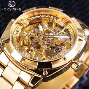 RELÓGIO Novos homens de alta qualidade luxo skeleton automatic winding relógios mecânicos de aço inoxidável de ouro à prova d 'água relógio de pulso venda quente 320,00 320,00 FRETE GRATIS