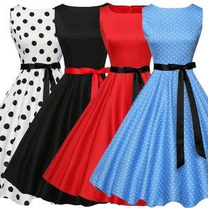 VESTIDO Retro das mulheres em torno do pescoço sem mangas onda impressão bow tie cintura vestido R$200,00 FRETE GRATIS
