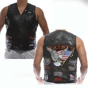 COLETE COURO 2018 New Genuine Couro De Ovelha punk Colete Escondido Carry Biker Vest com Patches Harley motocicleta jaquetas Homens Casuais Colete Sem Mangas camisa R$200,00 R$200,00 FRETE GRATIS
