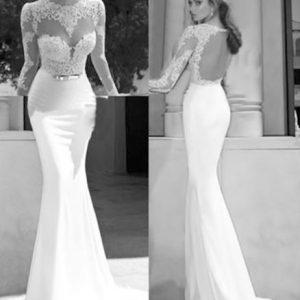 VESTIDO Das mulheres à moda de manga comprida Backless Lace Patchwork vestido da festa de casamento da dama de honra longo vestido Maxi R$300,00  R$300,00 FRETE GRATIS