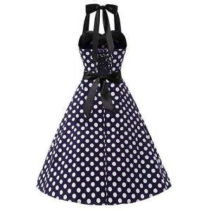 VESTIDO ANOS 60 Mulheres Halter Elegent A-Line Vestido Vintage Dot Impressão Festa Vestidos Cinto Sem Mangas Vestido R$250,00 R$250,00 FRETE GRATIS