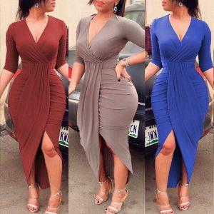 VESTIDOS Mulheres elegantes plissadas fenda vestido Bodycon  R$150,00 FRETE GRATIS
