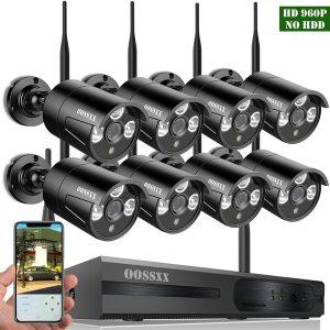 CAMERA atualização OOSSXX 8 canais HD 1080P rede sem fio / sistema de câmera de segurança IP (IP sem fio WIFI NVR Kits), 8Pcs 960P 1.3 Megapixel sem fio Indoor / Outdoor IR IP bala Câmeras, P2P, App, nenhum HDD  R$2.520,00  FRETE GRATIS