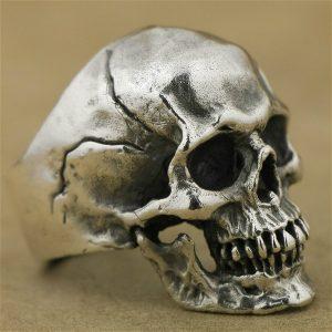 Anel de esqueleto de aço de alto detalhe de titânio de aço Mens Biker Punk cor prata anel gótico R$30,00 FRETE GRATIS