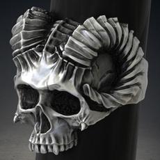 ANEL Gótico Faunus Capricornus Aço Inoxidável 316L Ovelhas Charme Devil's Head Anel para Jóias Do Punk dos homens Fantasma Cavaleiro Jóias para masculino R$30,00 FRETE GRATIS