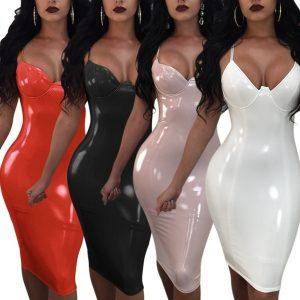 VESTIDO Moda feminina de couro látex Sling vestido Zipper Split Tie espelho boate  R$130,00 FRETE GRATIS