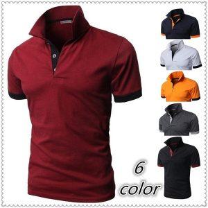 CAMISA dos homens de moda de algodão polo t camisas casual sport colorido dos homens mangas curtas camisa polo t R$50,00  FRETE GRATIS