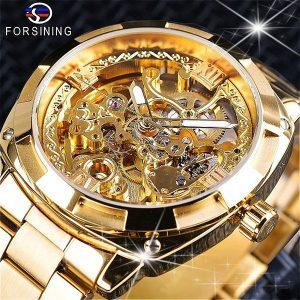 RELOGIO FORSINING Qualidade Homens Esqueleto Automático de Enrolamento Relógios Mecânicos de Aço Inoxidável de Ouro À Prova D 'Água relógio de Pulso Montre Uhr com Caixa de Presente R$320,00  FRETE GRATIS