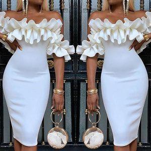 VESTIDO Moda Verão Branco Robe Coquetel Vestido Fora Do Ombro Ruched Projeto Vestido de Baile  R$250,00 FRETE GRATIS