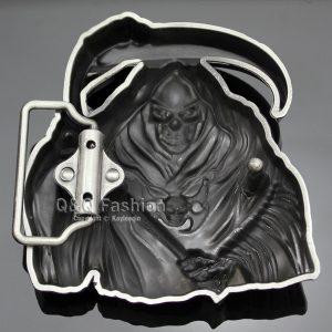 FIVELA CAVEIRA Homens Prata 3D Grim Reaper Esqueleto Crânio Foice Santa Muerte Fivela de Cinto R$120,00  FRETE GRATIS