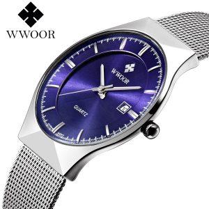 RELOGIO Mens Relógios Top Marca de Luxo New WWOOR Relógio Dos Homens de Negócios Relógio Azul de Prata de Aço Completa Banda Relógio De Quartzo R$200,00  FRETE GRATIS