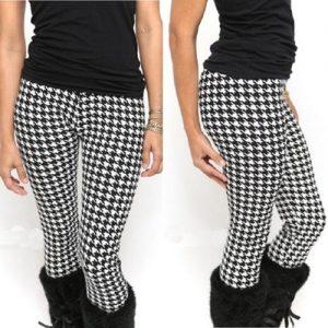 CALÇA Mulheres quentes Magro Houndstooth Preto Branco Geométrica Impressão Pant Apertado Leggings branco RYUP R$50,00  FRETE GRATIS