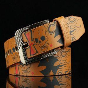 CINTO Moda Crânio Impresso Padrão Unisex PU Leather Alloy Buckle Belt R$50,00  FRETE GRATIS