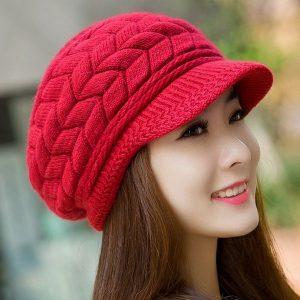 BOINA Mulheres elegantes Chapéu de Inverno Outono Gorros Chapéus De Malha Para A Mulher de Pele De Coelho Cap Senhoras Femininas Boina Skullies Crochet Bonnet R$70,00  FRETE GRATIS