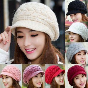 BOINA Hot Mulheres Senhoras Beret Inverno Quente Baggy Beanie Malha Crochet Hat Slouch Ski Cap R$70,00  FRETE GRATIS