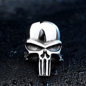 ANEL Moda Masculina Punisher Crânio Anel de Aço Inoxidável 316L Moda Masculina Jóias Tamanho 7-13 R$30,00  FRETE GRATIS