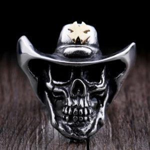 ANEL Aço Inoxidável 316L Estilo Punk Ouro Cowboy Crânio Anel de Alta Qualidade Jewerly para o Homem R$30,00  FRETE GRATIS