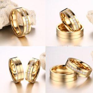 ANEL Moda titanium aço amante anéis 18k goldplated cz anel encantadoras homens mulheres bandas de casamento R35,00 cada FRETE GRATIS  SITE aqui www.DUGEZZU.com.br boas compras