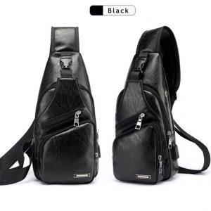 CARTUCHEIRA Saco de ombro Sling dos homens PU de couro ao ar livre Saco de peito com porta USB Crossbody Bag Casual R$100,00  FRETE GRATIS
