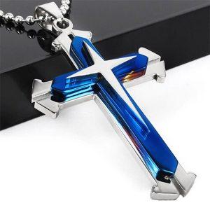 COLAR ouro / preto / azul de prata titanium aço inoxidável pingente de cruz dos homens colar de corrente pingentes jóias acessórios presente R$30,00  FRETE GRATIS