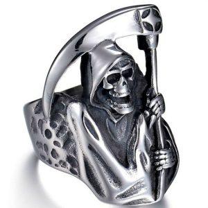 ANEL Vintage Gothic Punk Ceifador Ceifador Anel de Aço Inoxidável Anel Ceifador de Aço Inoxidável Jóias para Homens R$30,00  FRETE GRATIS