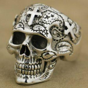 ANEL Aço titanium do vintage alta detalhe crânio cruz anel gótico mens biker cor prata anel eua tamanho 7 ~ 14 R$35,00  FRETE GRATIS  SITE aqui www.DUGEZZU.com.br boas compras