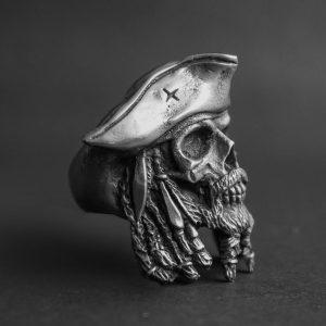 ANEL Punk gótico dos homens 316L aço inoxidável capitão Jack crânio anel motociclista jóias para macho R$30,00  FRETE GRATIS