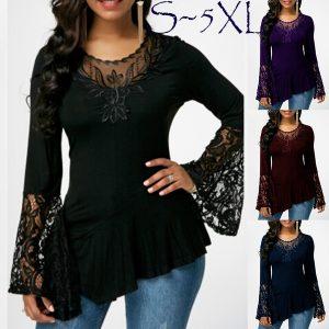 BLUSA Plus Size Moda Feminina Blusa Camisetas Irregular Hem Com Flare Flare Longo Sleecve Tops R$120,00  FRETE GRATIS