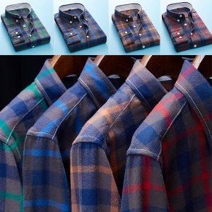 Camisa dos homens Nova Camisa Xadrez de Manga Comprida Camisa Cusual Masculino Normal Camisa Dos Homens Topos Tamanho: P M G XG XXG XXXG R$100,00  FRETE GRATIS