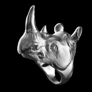 ANEL DEFESA PESSOAL Aço Inoxidável 316L Cabeça de Rinoceronte Animal para Homens de Auto-defesa Rinoceronte Presentes Da Jóia Do Punk FRETE GRATIS