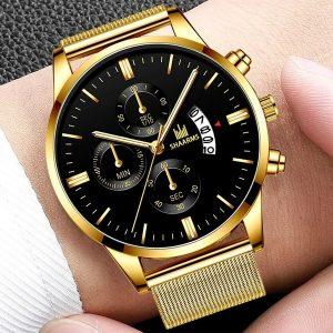 RELOGIO Moda Mens Relógios Banda De Malha De Aço Inoxidável Exibição de Calendário de Pulso de Quartzo Relógios de Negócios de Luxo Relógios Desportivos Uhren Herren R$30,00  FRETE GRATIS