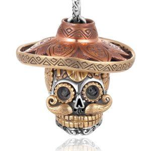 Colar de Pingente de Crânio de Aço Inoxidável dos homens de Ouro Gothic Skeleton Pingentes de Moda Jóias  R$50,00 FRETE GRATIS