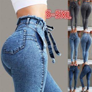 CALÇA Plus Size Das Mulheres Causal Magro Stretchy Cintura Alta Stretchy Denim Calças Jeans Lápis Calça Calças Tamanho: S / US4 / EU34 2XL 3XL P M  R$160,00  FRETE GRATIS