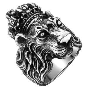 ANEL Rei do leão do vintage anéis de dedo de aço inoxidável para homens crown cruz anel de cabeça de leão animal anel de punk rock anéis para homens jóias R$30,00 FRETE GRATIS