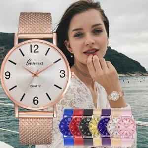 RELOGIO Moda quartzo relógio homens mulheres malha de aço inoxidável pulseira relógio de pulso casual para feminino R$30,00  FRETE GRATIS