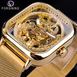 RELOGIO COISA LINDA QUADRADO Forsining Mens Esqueleto Esqueleto Mecânico Relógios Automáticos Elegante Relógio De Ouro Assista À Prova D 'Água Relógio Luminoso Mechanische Uhr R$280,00 FRETE GRATIS  SITE aqui www.DUGEZZU.com.br boas compras