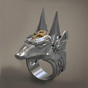 ANEL DEFESA PESSOAL Deidade egípcia majestosa de Anubis Ankh do talhador egípcio da cruz do ouro e do anel do motociclista do anel da prata do vintage FRETE GRATIS