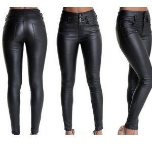 Calças de couro skinny sexy mulheres calças pretas de comprimento total bolsos R$100,00 FRETE GRATIS  SITE aqui www.DUGEZZU.com.br boas compras