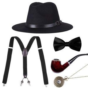 CONJUNTO CHAPÉU Acessórios Masculinos Gatsby Gangster Costume Acessórios Set Manhattan Fedora Hat Suspenders Bow Tie Pocket Watch R$160,00 FRETE GRATIS  SITE aqui www.DUGEZZU.com.br boas compras