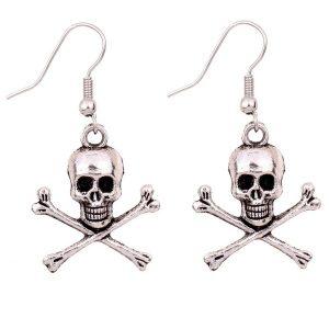 BRINCO Antique Silver Skeleton Skull Brinco Mulheres Meninas Crânio Ear Dangle Crânio Ear Dangle R$35,00 FRETE GRATIS  SITE aqui www.DUGEZZU.com.br boas compras