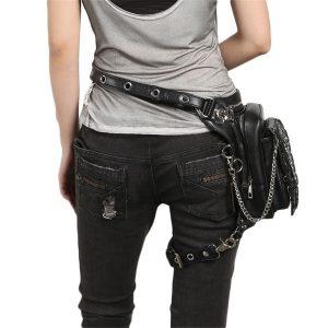 CARTUCHEIRA Punk Sacos de Cintura de Couro PU Rebite Gótico Preto Fanny Packs Steampunk Multifuncionais sacos de Mão para Mulheres Dos Homens R$330,00 FRETE GRATIS  SITE aqui www.DUGEZZU.com.br boas compras