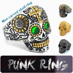 ANEL Estilo gótico dos homens do vintage anel de esqueleto de aço titanium dominador hip hop / estilo punk jóias cool carved crânio anel R$35,00  FRETE GRATIS  SITE aqui www.DUGEZZU.com.br boas compras