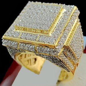 ANEL Homens Iced Out Solitaire Estilo Diamond Pinky Band Anel em ouro amarelo 18k cheio R$35,00 FRETE GRATIS  SITE aqui www.DUGEZZU.com.br boas compras