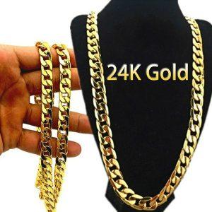 CORRENTE 24k de ouro colar de corrente longa homens jóias marca gótico cor de ouro masculino colar presentes (tamanho: 18-30inch) R$60,00  FRETE GRATIS  SITE aqui www.DUGEZZU.com.br boas compras