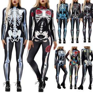 ESQUELETO Mulheres do Dia Das Bruxas Trajes Cosplay Crânio Esqueleto 3d Impressão Digital de Manga Comprida Bodysuit Macacões R$140,00  FRETE GRATIS SITE aqui www.DUGEZZU.com.br boas compras