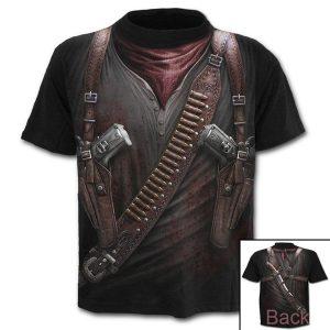 CAMISETA (S-4XL) Mens Moda Manga Curta Gothic Gun Impresso 3D Camiseta Engraçado Verão Algodão Tops R$55,00  FRETE GRATIS SITE aqui www.DUGEZZU.com.br boas compras