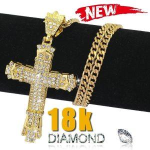 COLAR 2018 Moda Masculina Jóias de Ouro 18K / 925 Prata Diamante de Aço Inoxidável Pingente Cruz  R$60,00  FRETE GRATIS  SITE aqui www.DUGEZZU.com.br boas compras