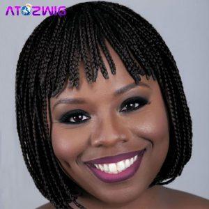 PERUCA Mulheres afro-americanas trançadas Bob perucas com franja Free Wig Wig Cap R$170,00 FRETE GRATIS  SITE aqui www.DUGEZZU.com.br boas compras