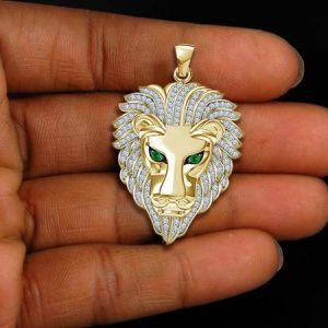 COLAR Luxo Mens 14 K Ouro Amarelo Sólido Acabamento 2.30 CT Diamante Esmeralda Cabeça de Leão Pingente de Colar de Pedaço de Charme R$100,00 FRETE GRATIS  SITE aqui www.DUGEZZU.com.br boas compras