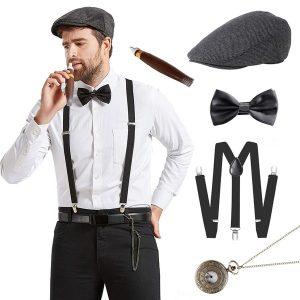 CONJUNTO BOINA Gatsby dos anos 20 dos homens Gangster Costume Acessórios Set 30 s Manhattan Fedora Hat Conjunto de suspensórios R$160,00 FRETE GRATIS  SITE aqui www.DUGEZZU.com.br boas compras